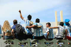 Argentina fans on Miami Beach Stock Photos