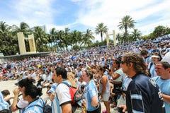 Argentina fans på Miami Beach Arkivfoto