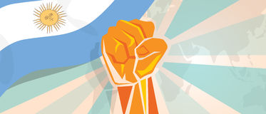 Argentina fight and protest independence struggle rebellion show symbolic strength with hand fist illustration and flag. Vector Royalty Free Stock Image
