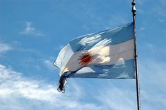 Argentina flag. In a sunny day royalty free stock photography