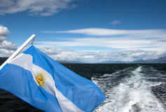 Argentina flag. A waving flag of Argentina on the sea Stock Images