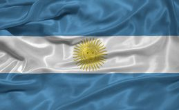 Argentina Flag 3. Illustration of waving Argentinian flag close up Stock Photo