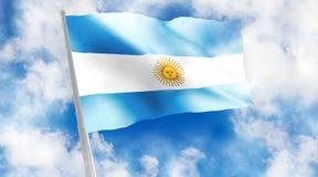 Argentina flag on blue background. Argentina flag on sky background. 3d illustration Stock Photos