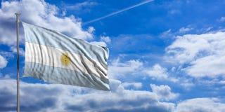 Argentina flag on a blue sky background. 3d illustration Royalty Free Stock Photos