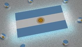 Argentina Flag blue white sun. Flag america argentina state flags rectangle american sun blue white yellow light sphere homeland patriot south patriotism raise stock illustration