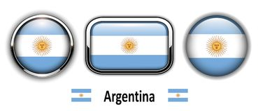 Argentina flag buttons. 3d shiny vector icons Stock Image