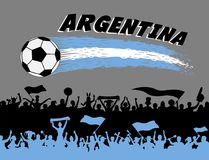 Argentina flag colors with soccer ball and Argentinian supporter. S silhouettes. All the objects, brush strokes and silhouettes are in different layers and the Stock Photo