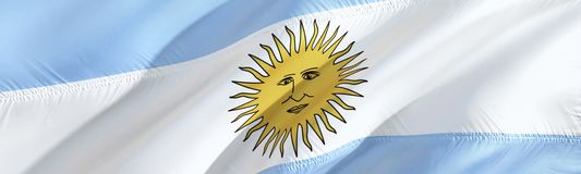 Argentina flag. Flag of Argentina. 3D Waving flag design,3D rendering. The national symbol of Argentina background wallpaper. 3D. Ribbon, wallpaper, pattern stock photo