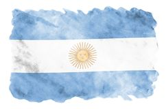 Argentina flag is depicted in liquid watercolor style isolated on white background. Careless paint shading with image of national flag. Independence Day banner stock images