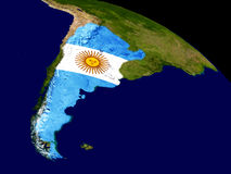 Argentina with flag on Earth Stock Image