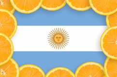 Argentina flag in fresh citrus fruit slices frame. Argentina flag in frame of orange citrus fruit slices. Concept of growing as well as import and export of royalty free illustration