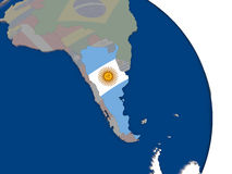 Argentina with flag on globe Stock Photo