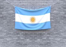 Argentina flag hanging on brick wall. 3D illustration royalty free illustration