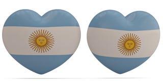 Argentina flag heart symbol isolated on white background. 3D ill. Ustration royalty free illustration