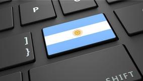 Argentina flag keyboard enter button. 3d render Stock Photography