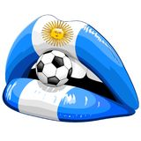 Argentina Flag Lipstick Soccer Supporters Royalty Free Stock Photos
