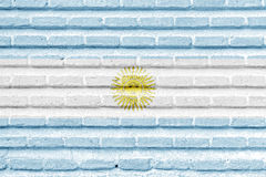 Argentina flag on an old brick wall Stock Photo