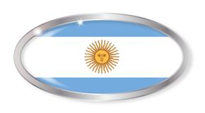 Argentina Flag Oval Button. Oval silver button with the Argentina flag isolated on a white background Royalty Free Stock Image