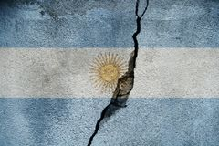 Argentina   FLAG PAINTED ON CRACKED WALL NICE. Argentina   FLAG PAINTED ON CRACKED WALL Royalty Free Stock Image