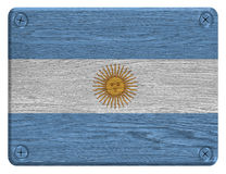 Argentina flag. Painted on wooden tag stock photos