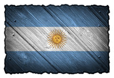 Argentina flag. Painted on wooden tag stock images