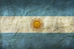Argentina Flag on Paper. Flag on an old Paper Texture Royalty Free Stock Photography