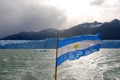 Argentina flag by Perito Merino Glacier in Patagonia Stock Photography