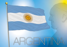 Argentina flag and pope franciscus portrait Royalty Free Stock Images