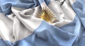 Argentina Flag Ruffled Beautifully Waving Macro Close-Up Shot. Studio stock image