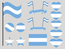 Argentina flag set. Collection of symbols, flag in heart. Vector Royalty Free Stock Photos