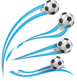 Argentina flag set with soccer ball. On white background Stock Photo