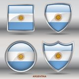 Argentina Flag in 4 shapes collection with clipping path royalty free stock photo
