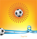 Argentina flag with soccer ball. On background vector illustration