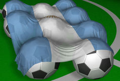 Argentina flag and soccer-balls. 3D-rendering image of Argentina - competitor of World Championship Stock Illustration