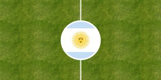 Argentina flag on a soccer field center. Top view Stock Photography