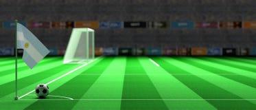 Argentina flag on a soccer field. 3d illustration. Argentina flag on a soccer football field. 3d illustration Stock Photos