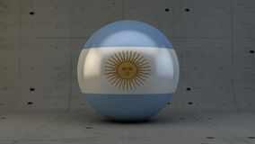 Argentina flag sphere icon isolated in concrete room. 3d render Stock Images