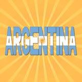 Argentina flag text with sunburst illustration. Argentina flag text on orange and yellow sunburst background illustration Royalty Free Stock Photos