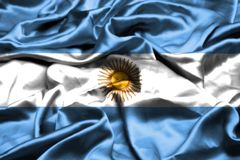 Argentina flag waving in the wind. Argentina flag waving in the wind stock illustration