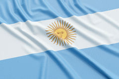 Argentina flag. Wavy fabric high detailed texture. 3d illustration rendering Stock Photo