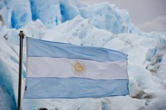 Argentina flag weave in front of glacier royalty free stock photo
