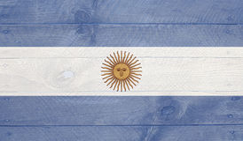 Argentina flag on wood boards with nails Stock Photos
