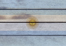 Argentina flag on a wood. Illustration of Argentina flag over a wooden textured surface Stock Images