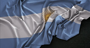 Argentina Flag Wrinkled On Dark Background 3D Render Royalty Free Stock Images