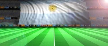 Argentina flagga i ett upplyst fotbollfält illustration 3d royaltyfri illustrationer