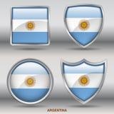 Argentina flagga i samling för 4 former med den snabba banan stock illustrationer