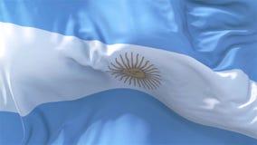 Argentina flagga i slätt blåsa för ultrarapid i sömlös öglasbakgrund för vind