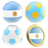 Argentina football team attributes isolated. Argentina football team set of four soccer ball attributes isolated on white Royalty Free Stock Photo