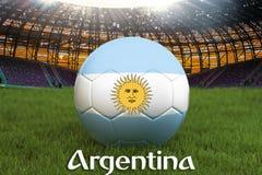Argentina fotbollslagboll på stor stadionbakgrund Begrepp för Argentina lagkonkurrens Argentina flagga på bolllagturnering vektor illustrationer