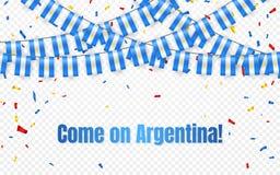Argentina girlandflagga med konfettier på genomskinlig bakgrund, hängningbunting för berömmallbanret, vektorillustration stock illustrationer